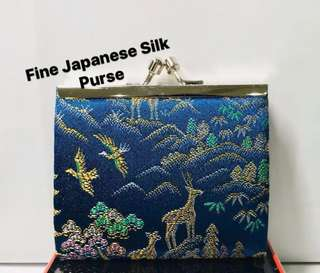 Japanese Silk Coin Purse. 9cm by 7.5cm. Clicked Closure. AUTHENTIC (MADE IN JAPAN). Good quality Fine Silk. Great as a Gift.