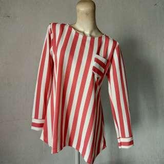 Blouse Stripe Pink Wedges