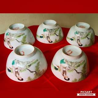 """Rare 1910-20s Antique Porcelain Rice Bowls (12"""" dia) with Hand-Painted Chinese Fairies. Beautiful Condition, Detail of flaws below. 5pcs for $118 Clearance Offer! Sms 96337309 for Fast Deal."""