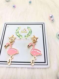 🚚 俏皮紅鶴🌸耳環