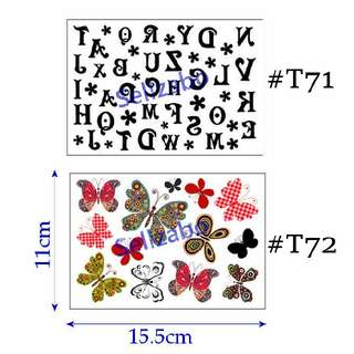 #T72 Fake Temporary Body Tattoo Stickers Washable Wash Off Print Sellzabo Colourful Black Colour Patterns Designs Tatoo Tatto Tattoo Accessories Cartoons Butterfly Butterflies Alphabets ABC Words Letters