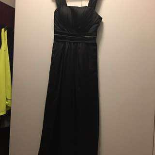 Black long satin dress