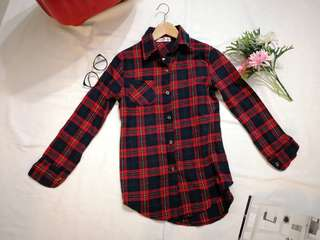 Red black checkered flannel