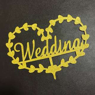 (Ins) Heart Shape Wedding Cake Topper in Gold