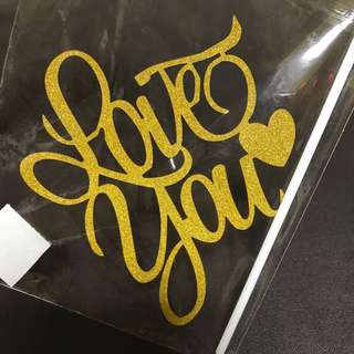 (Ins) Love you w Heart Cake Topper in Gold