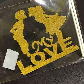 (Ins) My Love Couple Cake Topper in Gold