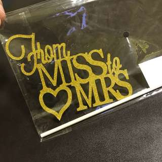(Ins) From Miss to Mrs Cake Topper in Gold
