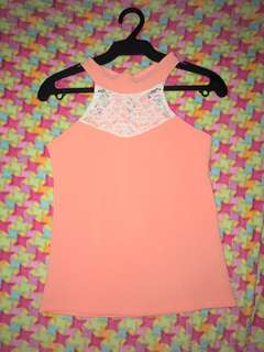 Pink Halter Top With White Lace Design