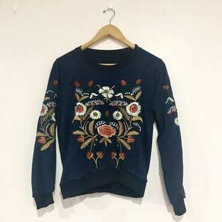 Embroidered Navy Blue Sweater - Floral
