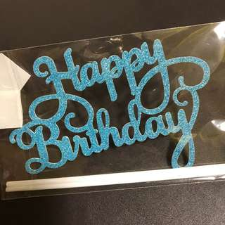 INSTOCKS! [Gold / Silver / Blue] Happy Birthday Cake Topper Curve Words