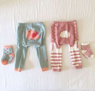 Baby Knit Leggings with socks