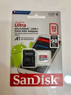 SanDisk Ultra 32GB Micro SD Card with Adapter (高速讀取98MB/s)
