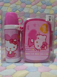 Hello Kitty Lunch box with plastic spoon and fork + tumblr