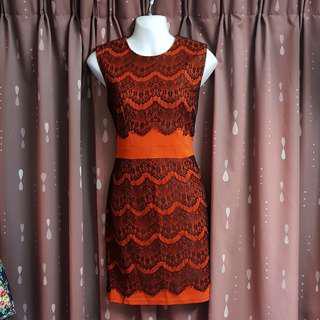 Orange Dress With Lace