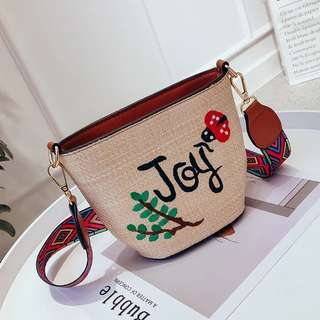 A004 Joy Embroidery Straw Strap Bag