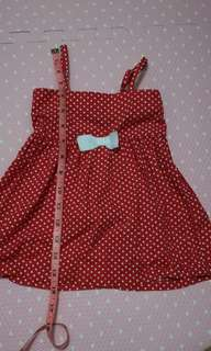 Red polka dot dress for infant to 2yo