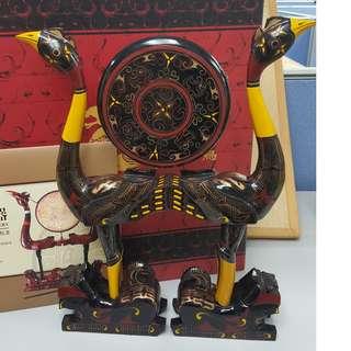 虎座鳥架鼓裝飾&《漆器與陶器》紀念郵票