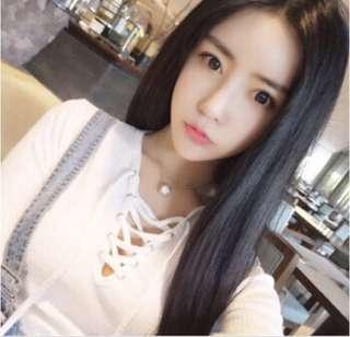 Korean style long straight hair wig