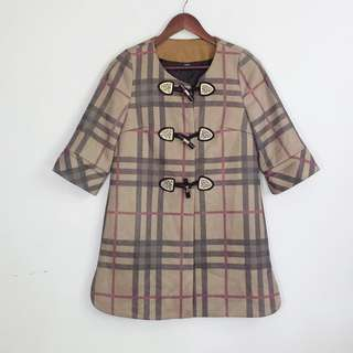 (S-M) Brown Plaid Long Jacket Topper with Black & Gold Fastening