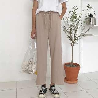 韓版寬鬆鬆緊腰闊腿褲/寬褲
