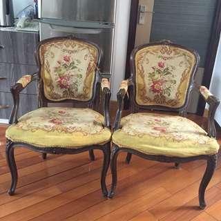 歐陸式古董宮廷坐椅一對