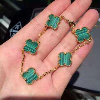 Clover bracelet, necklace, earings