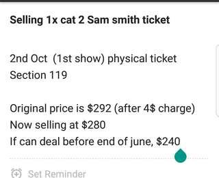 WTS 1X  CAT2 SAM SMITH OCT 2 TIX