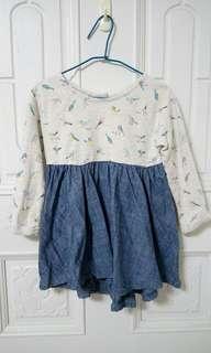 🚚 英國 NEXT 女童長袖洋裝 小鳥圖案