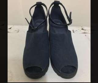Camper藏藍絨面厚底牛皮跟鞋