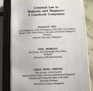 Criminal law in Malaysia & Singapore Casebook Companion