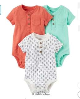 *12M* BN Carter's Short Sleeve Bodysuits For Baby Boy