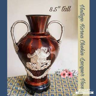 Vintage Korean Vase, Silver motif on Smooth Lacquer Base. Mint Condition. Refer to photo for detail and size. $10 Clearance Offer! Sms 96337309 for Fast Deal.