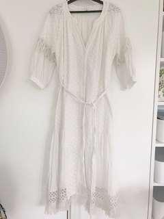 Initial style 飄逸民族仙氣蕾絲白色長裙 lace white long dress