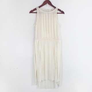 H&M Semi Sheer Cream Pleated Dress