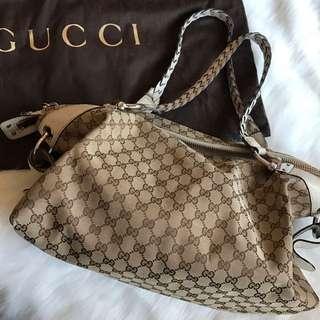 🚚 Gucci經典花紋編織竹節托特包 可議價