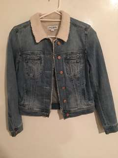 Just jeans denim jacket with Sherpa collar size 8