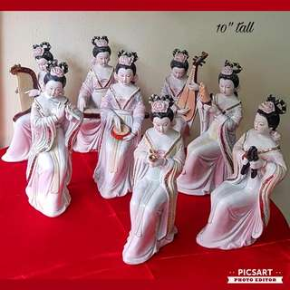 "Vintage Porcelain Figures of Eight Chinese Ancient Fairies Playing Traditional Chinese Musical Instruments. More of Less about 10"" tall. Good Condition, no chip no crack. All 8pcs for $68 Clearance Offer!"