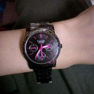 Canody 黑色三眼女用手錶