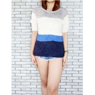 White and Blue Knitted Top