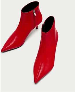 Zara mid heel red ankle boots