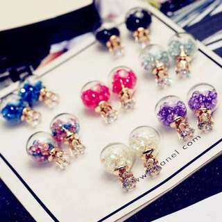 Crystal Ball with Flower Earrings
