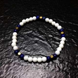 硨磲+青金石+黃銅方珠,手珠/手鏈