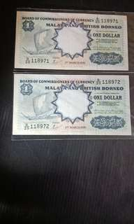 Malaya British One Dollar Running 2pcs