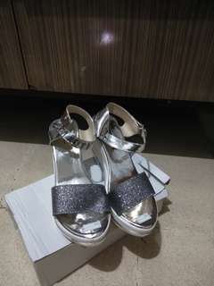 Silver Glitter Wedges Size 37