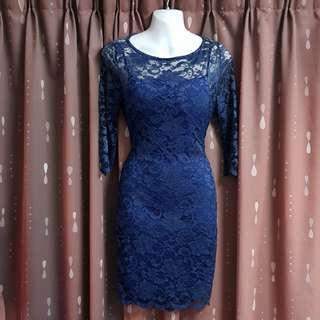 Blue Sexy back Lace Dress NWT