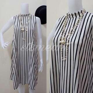 Turtle Neck Dress (White Stripes)