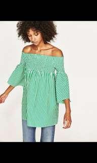 Zara Green Striped Mini Dress
