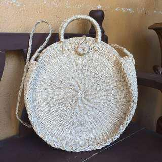 Round Abaca Beach Bag