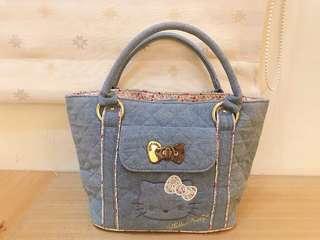 🚚 全新🌸 hello kitty 淺藍 碎花 手提包