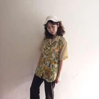 🚚 日本製🇯🇵淡黃短袖襯衫❤️任選賣場兩件減100✨古著復古vintage